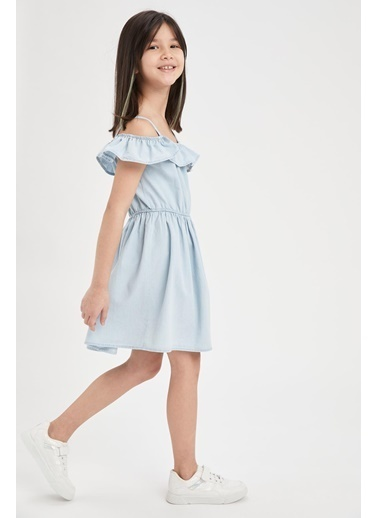 DeFacto Kız Çocuk Askılı Volanlı Jean Elbise Mavi